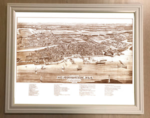 1885 Framed Panoramic Map of Saint Augustine Florida