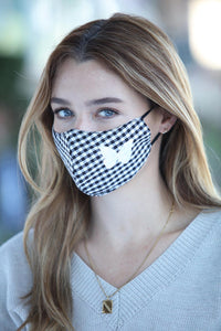 Black Gingham Butterfly Women's Face Mask