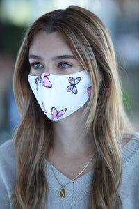 White with Pink Butterfly Women's Face Mask