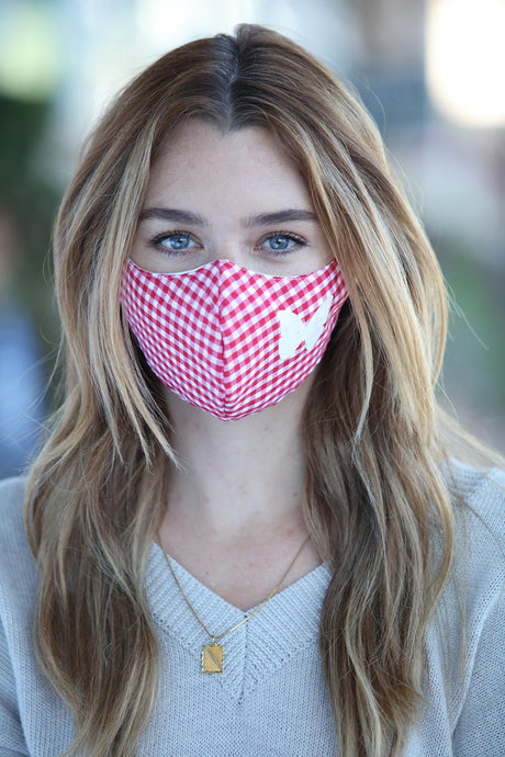 Red Gingham Butterfly Women's Face Mask