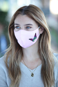 Pink Double Butterfly Women's Face Mask
