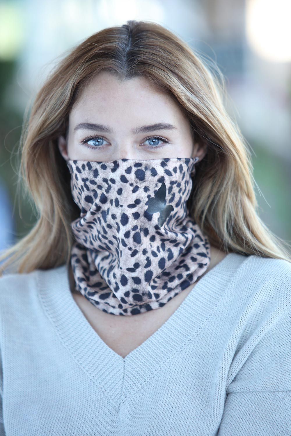 Cheetah With Butterfly Gaiter Scarf