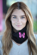 Load image into Gallery viewer, Black Neon Butterfly Gaiter Scarf