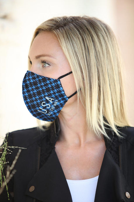 Dark Blue Houndstooth Women's Face Mask