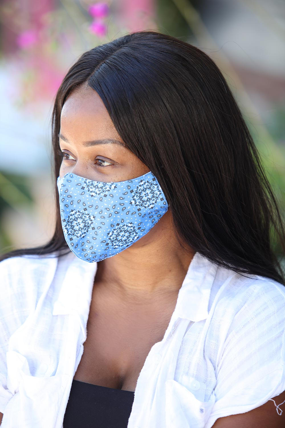 Blue Paisley Print Women's Face Mask