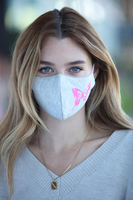 Heather Grey with Pink Butterfly Women's Face Mask
