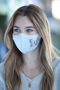 Heather Grey Pastel Butterfly Women's Face Mask