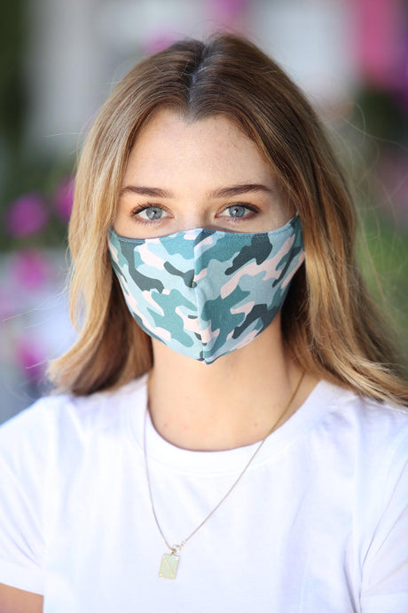 Camo Teal Face Mask