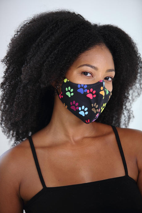 Black w/ Rainbow Paws Printed Women's Face Mask