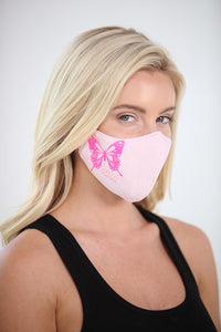 Pretty Powerful Pink Butterfly Women's Face Mask