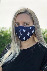 Blue with White Stars Women's Face Mask