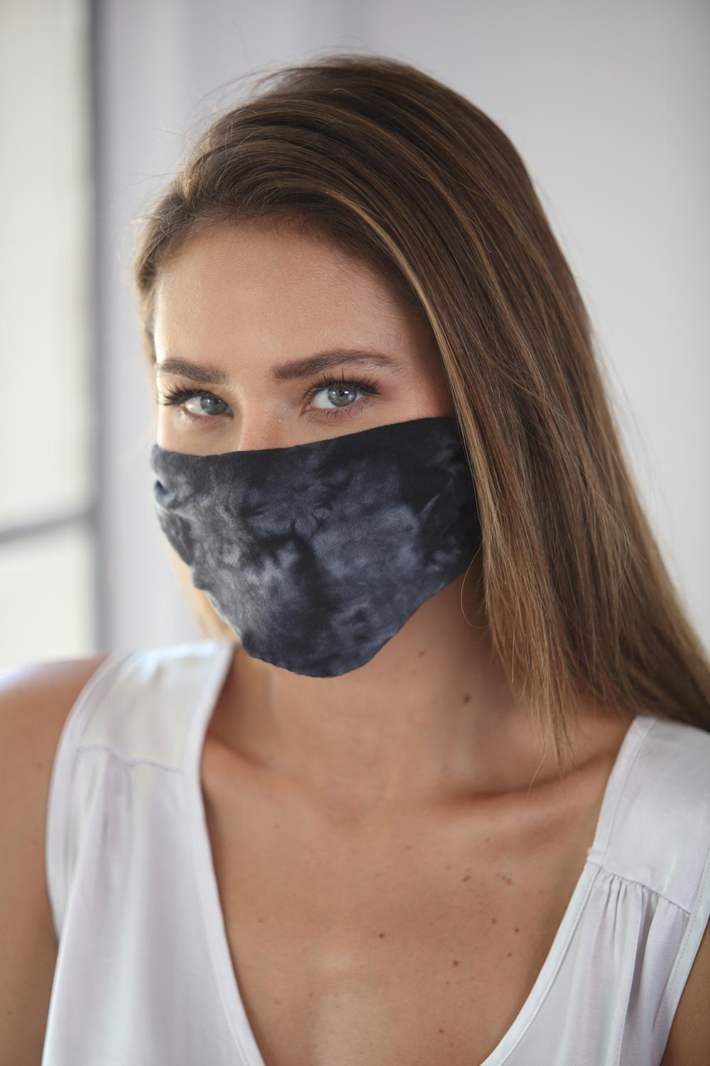Cotton Face Mask Tie Dye Black