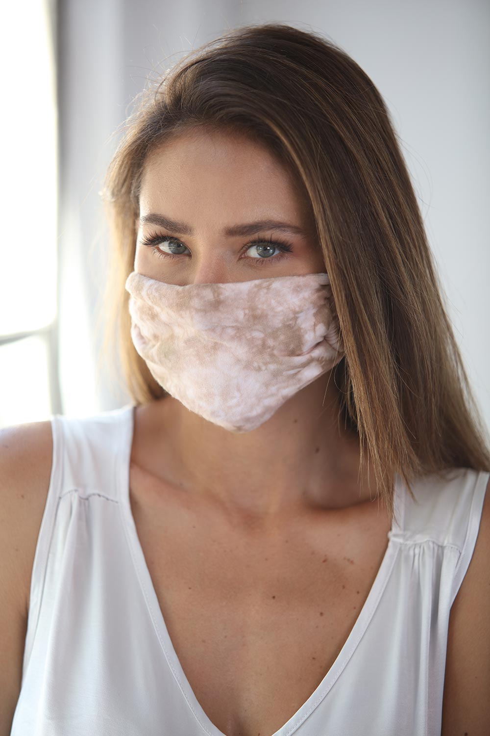 Cotton Face Mask Tie Dye Brown
