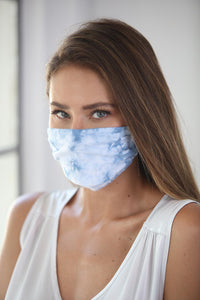 Cotton Face Mask Tie Dye Ocean Blue