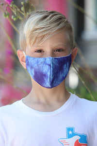 Kids Tie Dye Blue Face Mask