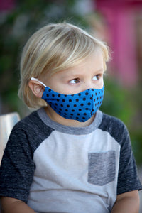 Kids Blue Polka Dot Face Mask