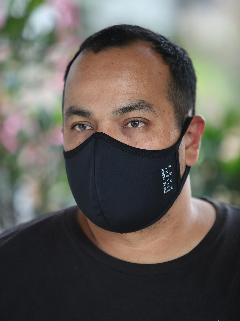 Mens Black Know Justice Know Peace Face Mask