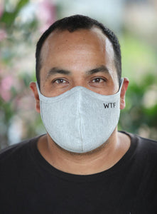 Mens Gray WTF Face Mask