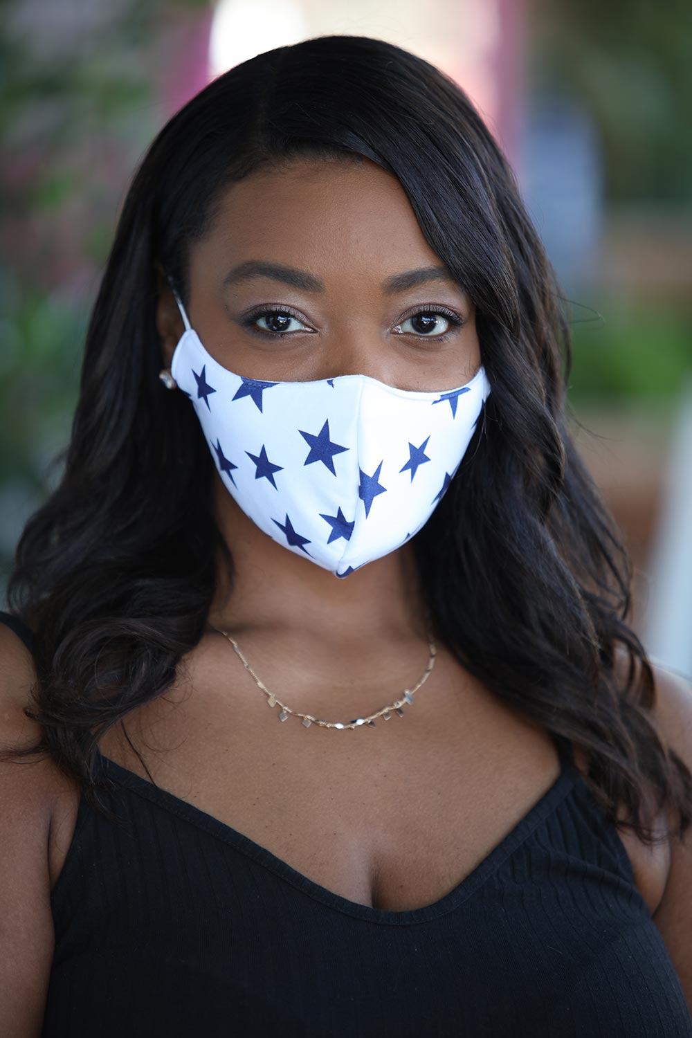 White With Blue Stars Women's Face Mask