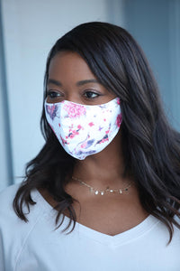 White with Pink Flamingo Women's Face Mask