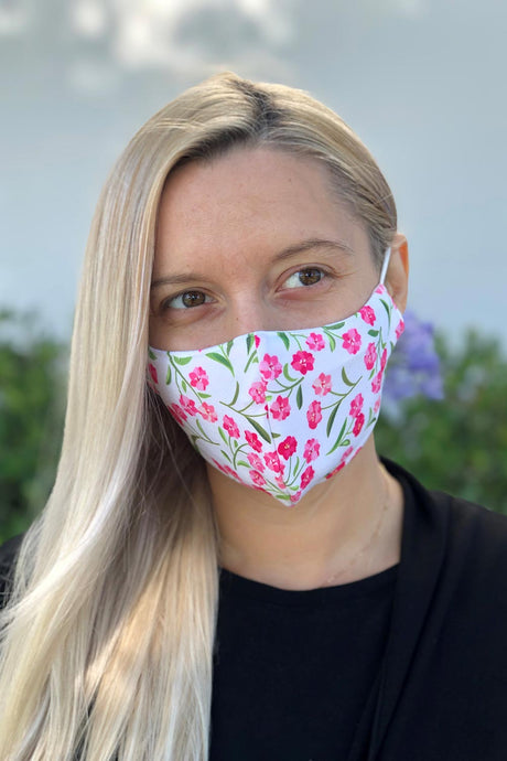 Pink Flower Ditsy Women's Face Mask Women's Face Mask