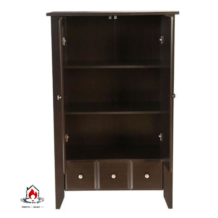2-Door Bedroom Clothes Storage Cabinet Wardrobe Armoire in Dark Brown Wood Finish - Bedroom > Wardrobe & Armoire