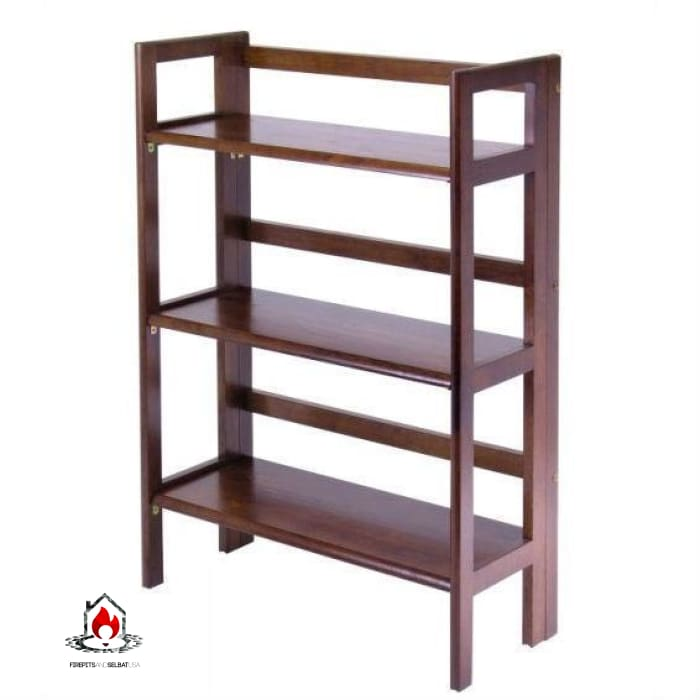 3-Shelf Stackable Folding Bookcase in Distressed Walnut Finish - Living Room > Bookcases