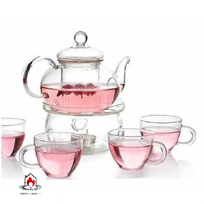 6-Piece Glass Tea Pot Set with 4 Cups Teapot Warmer and Infuser - Kitchen > Teapots