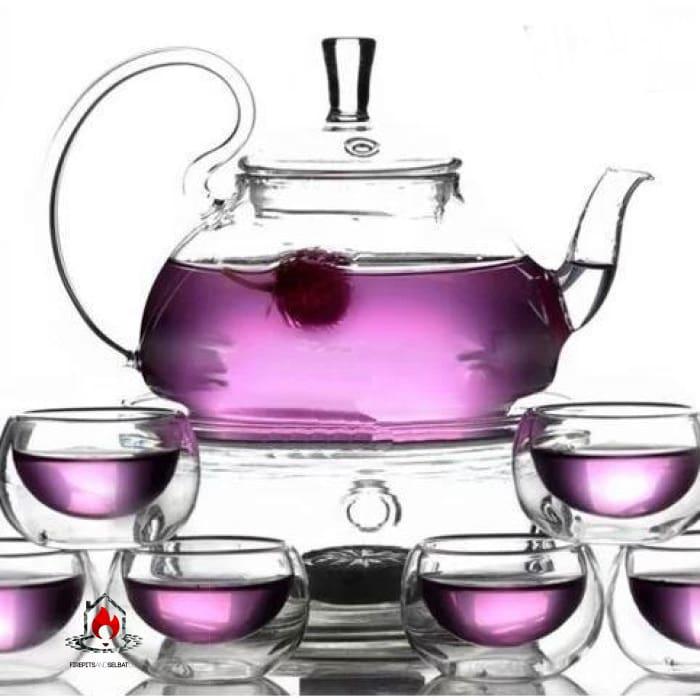 8-Piece Glass Teapot Set with 6 Glasses and Warmer - Kitchen > Teapots