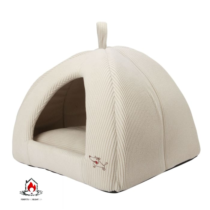 Beige Medium Size Dog Bed Dome Tent - Machine Washable - Bedroom > Cat and Dog Beds