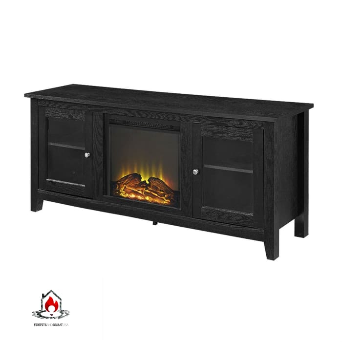 Black (2-in-1) TV Stand with Electric Fireplace Heater - Accents > Electric Fireplaces