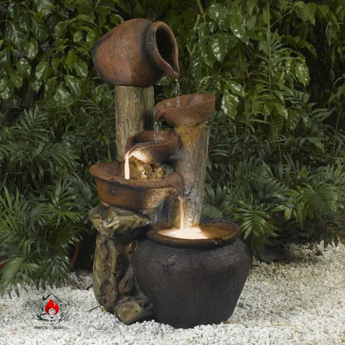 Clay Pot Style Indoor and Outdoor Fiberglass Illuminated Fountain - Accents > Fountains