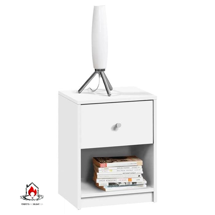 Contemporary 1-Drawer Nightstand with Storage Shelf in White - Bedroom > Nightstand and Dressers