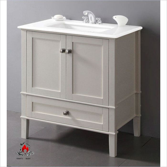 Contemporary Bathroom Vanity in Soft White with Marble Top and Rectangle Sink - Bathroom > Bathroom Vanities