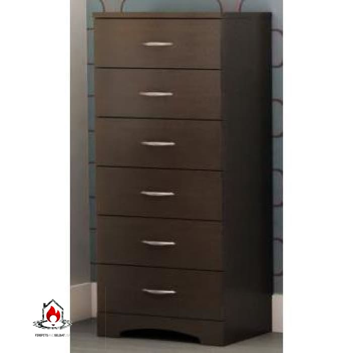 Contemporary Bedroom 6 Drawer Lingerie Chest in Chocolate - Bedroom > Nightstand and Dressers