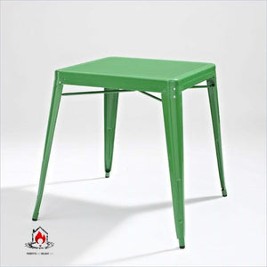 Contemporary French Cafe Style Sturdy Metal Dining Table in Green - Dining > Dining Tables