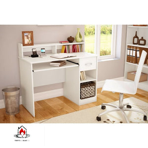 Contemporary Home Office Computer Desk in White Wood Finish - Office > Computer Desks