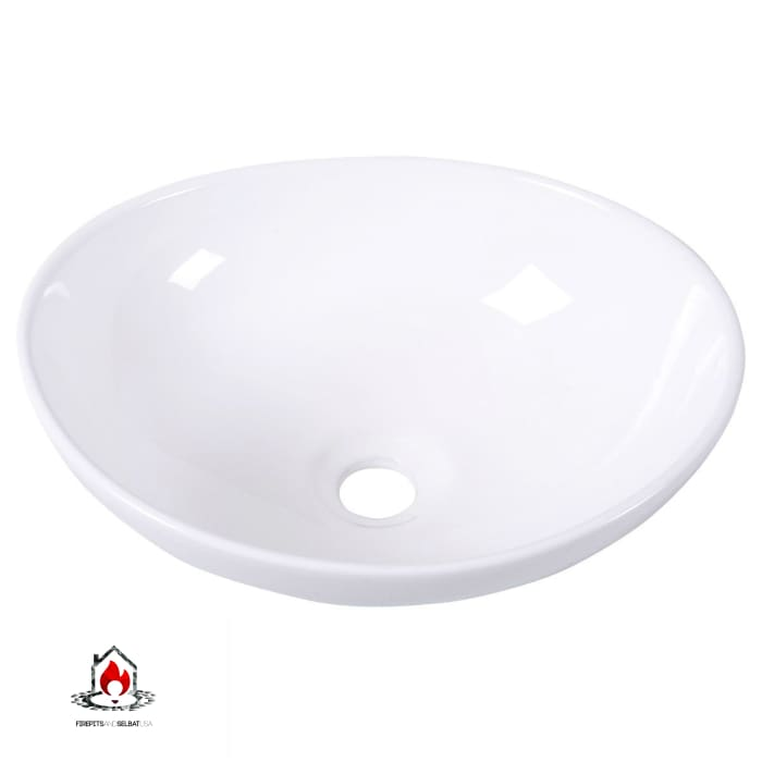 Contemporary Oval Basin Round Vessel Bathroom Sink in White - Bathroom > Bathroom Sinks