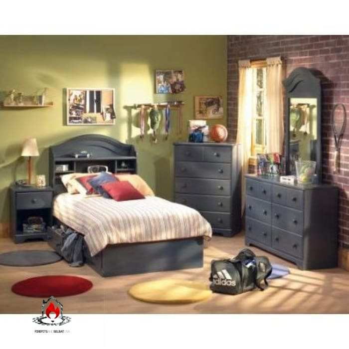 Dark Blueberry Wood Finish 6 Drawer Bedroom Dresser - Bedroom > Nightstand and Dressers