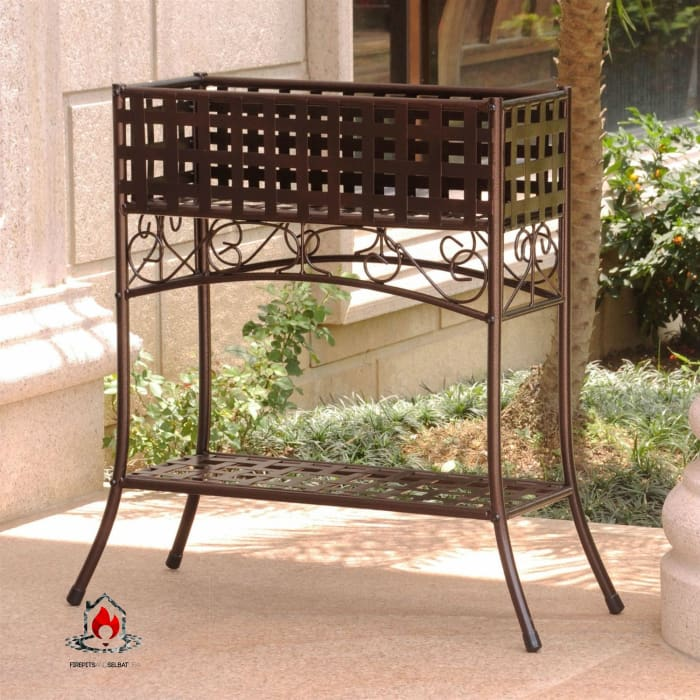 Elevated Wrought Iron Metal Plant Planter Stand in Bronze - Outdoor > Gardening > Planters