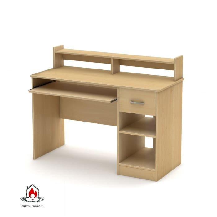Home Office Computer Desk in Natural Maple Wood Finish - Office > Computer Desks