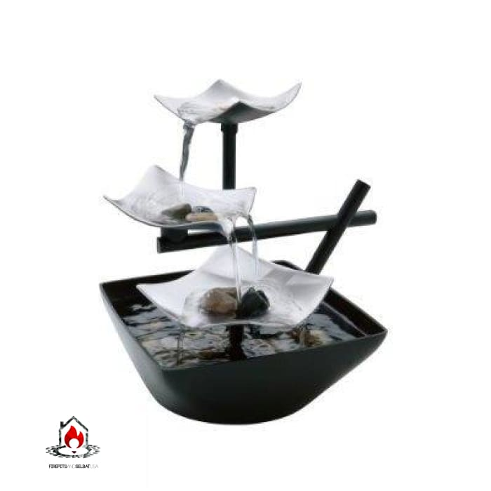 Illuminated Silver Water Springs Relaxing Table Fountain with Stones - Accents > Fountains