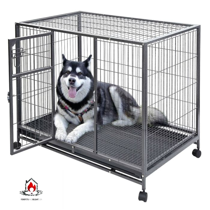 Large 44 x 29 Non-Toxic Steel Metal Wire Dog Crate Cage on Wheels - Bedroom > Cat and Dog Beds