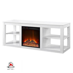 Modern 2-in-1 Electric Fireplace TV Stand in White - Accents > Electric Fireplaces