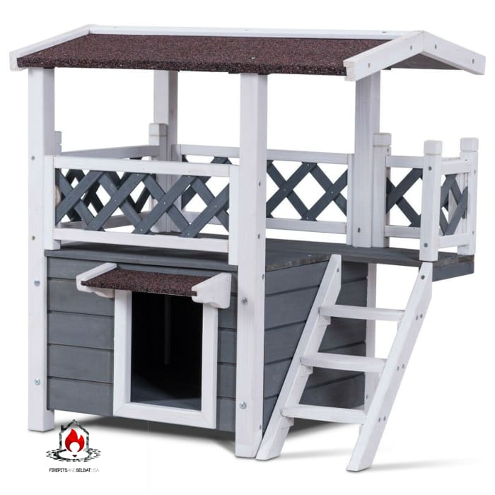 Modern Gray and White 2-Story Outdoor Weatherproof Wooden Cat House - Bedroom > Cat and Dog Beds
