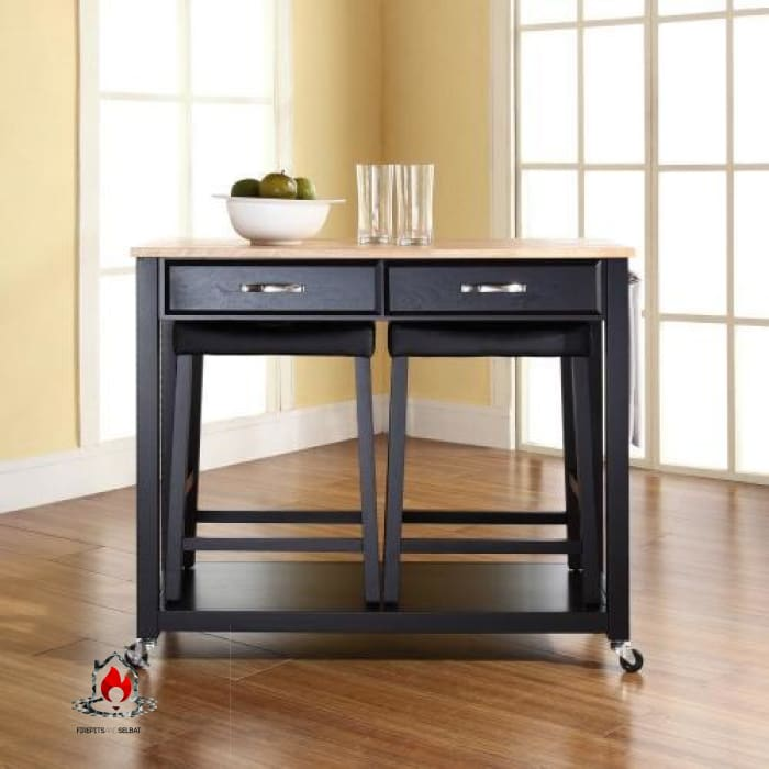 Natural Wood Top Kitchen Cart Island in Black with Saddle Stools - Kitchen > Kitchen Carts