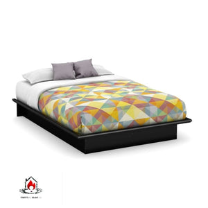 Queen size Platform Bed Frame in Modern Black Wood Finish - Bedroom > Bed Frames > Platform Beds