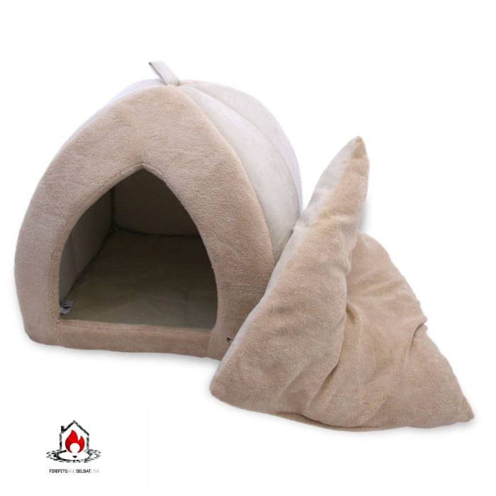 Tan 18-inch Large Dog Bed Tent with Soft Fleece Linning - Bedroom > Cat and Dog Beds