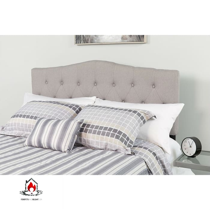 Twin size Light Grey Upholstered Button Tufted Headboard - Bedroom > Headboards