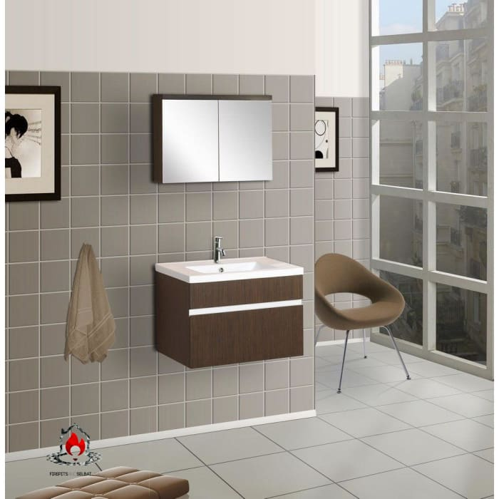Wall-Mounted Bathroom Vanity with Porcelain Top and Medicine Cabinet - Bathroom > Bathroom Vanities
